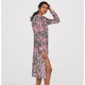 Pink Floral Pattern Long Sleeves Midi Dress Size L